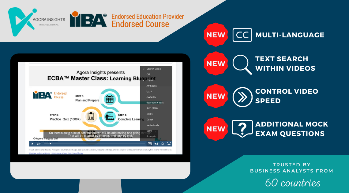Agora Insights IIBA ECBA CCBA CBAP courses subtitles multi language support