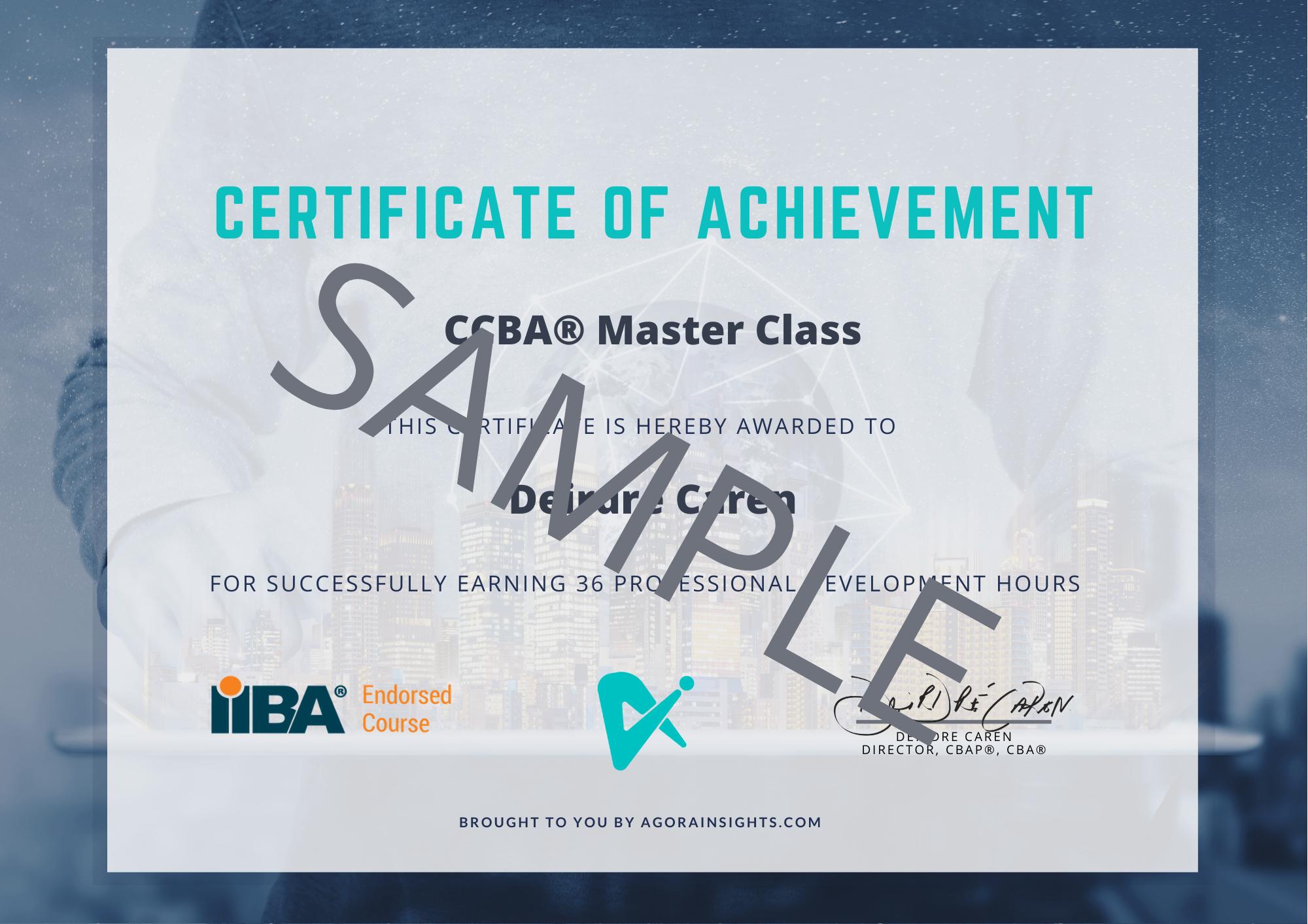 CCBA Master Class Certificate Sample