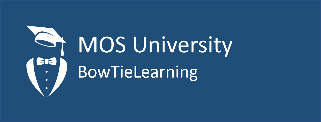 MOS University and BowtieLearning logo with silhouette of graduation cap over jacket lapel and bowtie