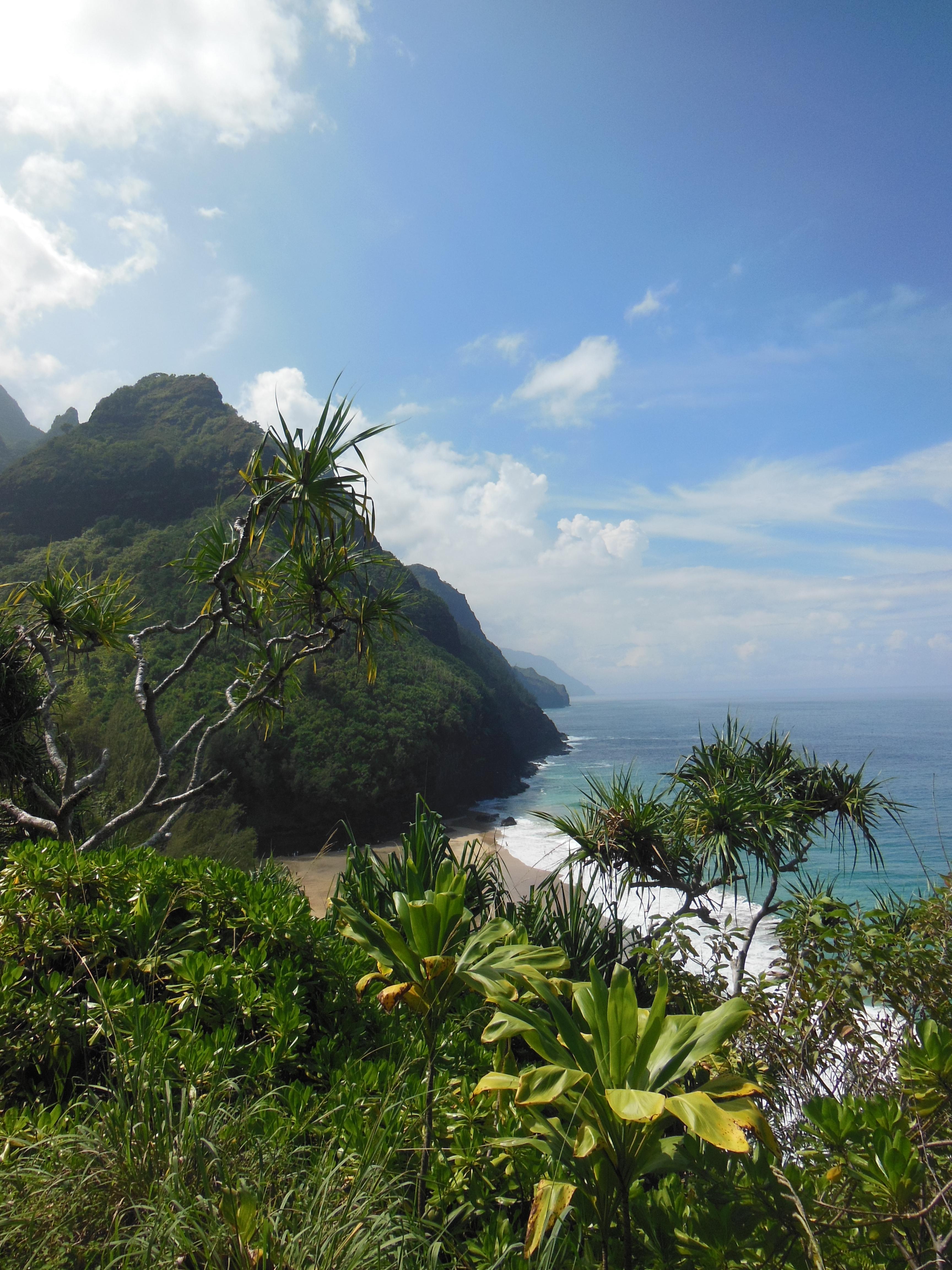 View of Hanakapiai Beach, Napali Coast on the Island of Kauai, Hawaii