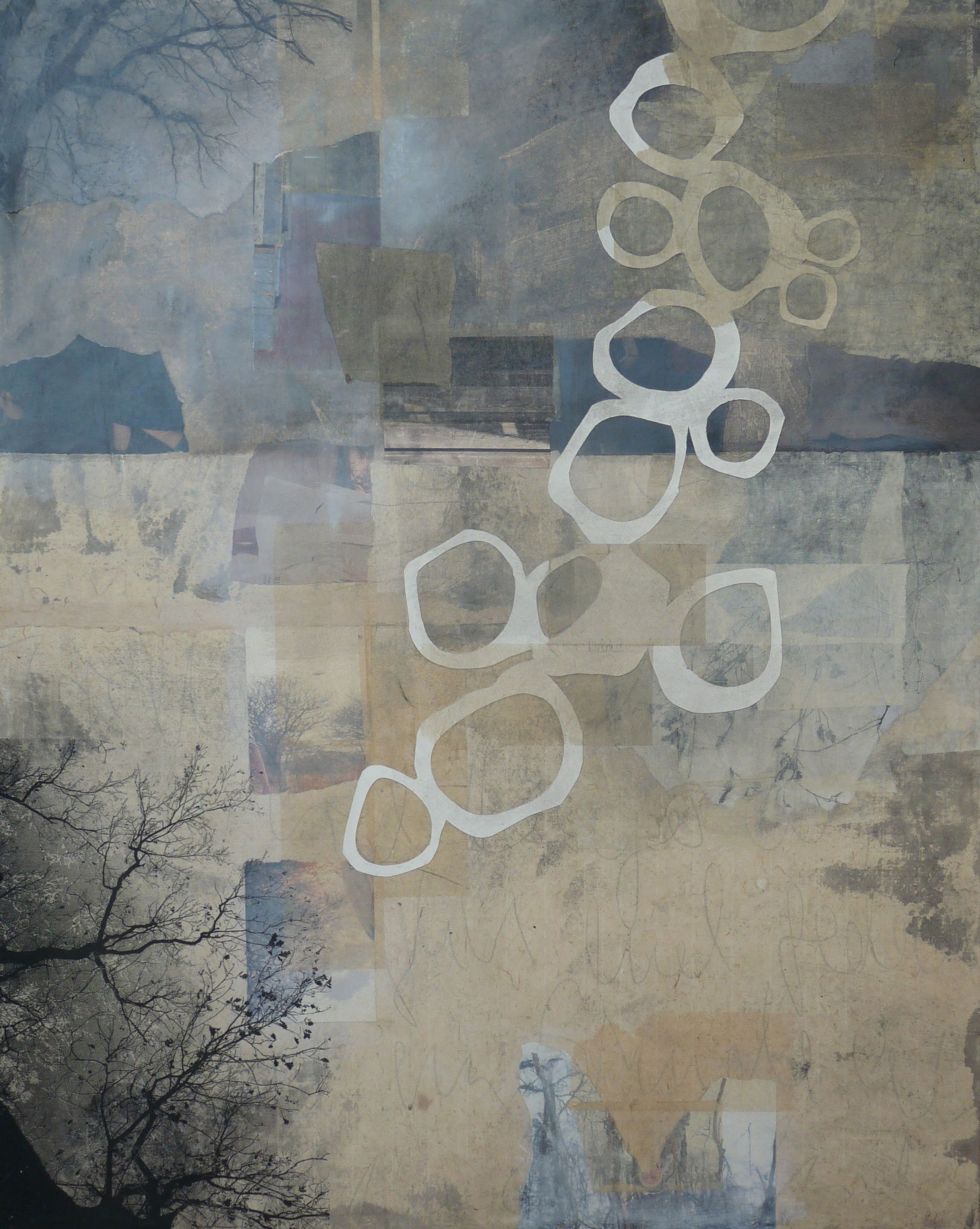 Collage on canvas with white abstract shapes and tress