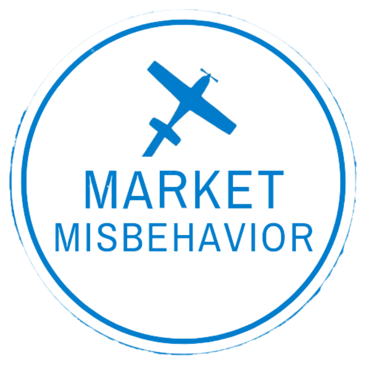 White circle with blue circle inside with a blue airplane and the words Market Misbehavior