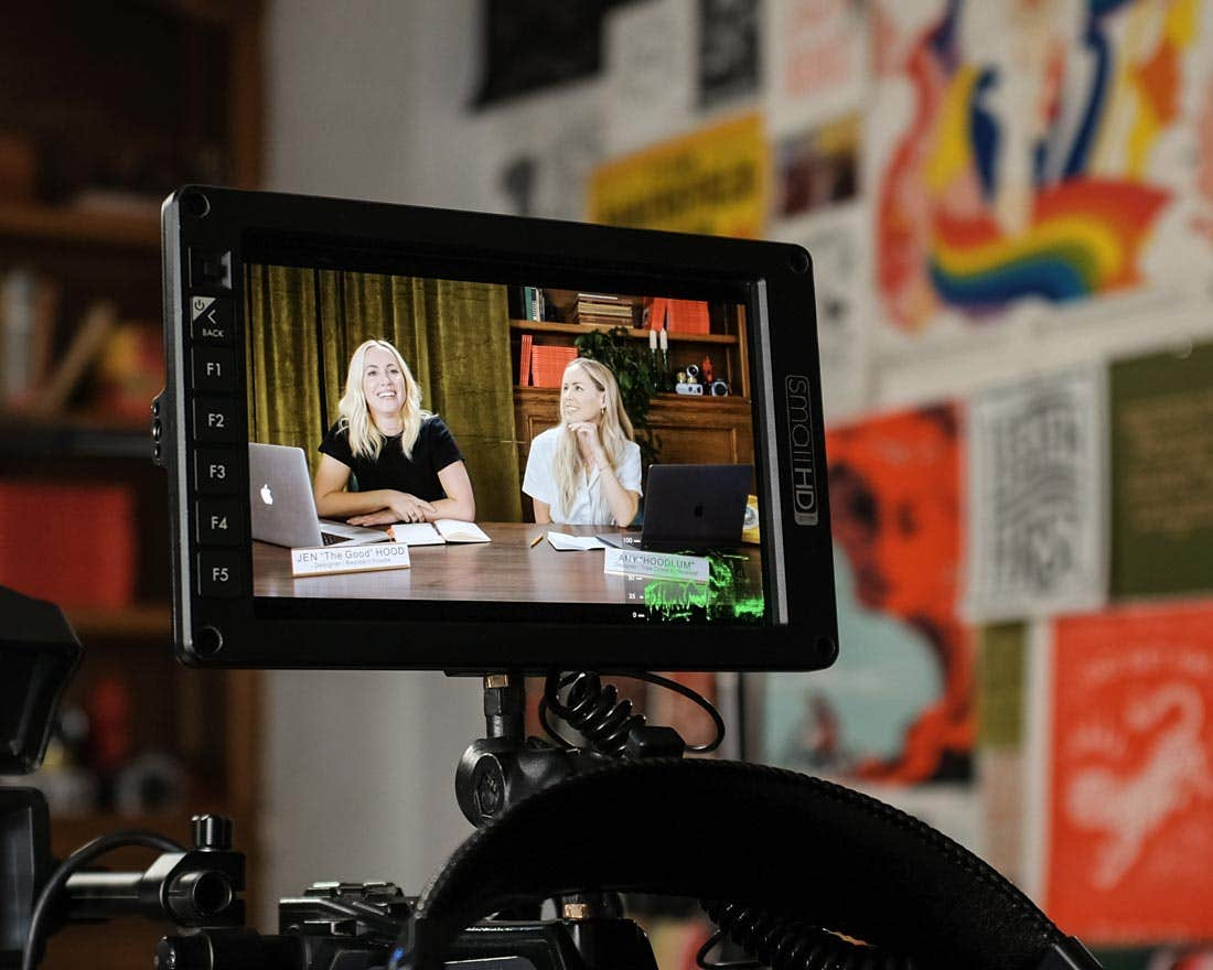 Amy Hood and Jennifer Hood filming Freelance and Business and Stuff with Voda Films