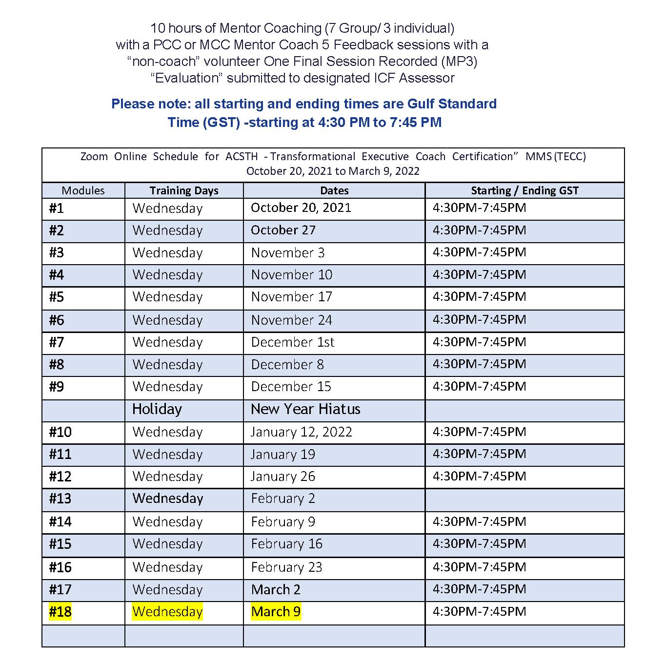 TECC ACSTH Oct 20 Schedule