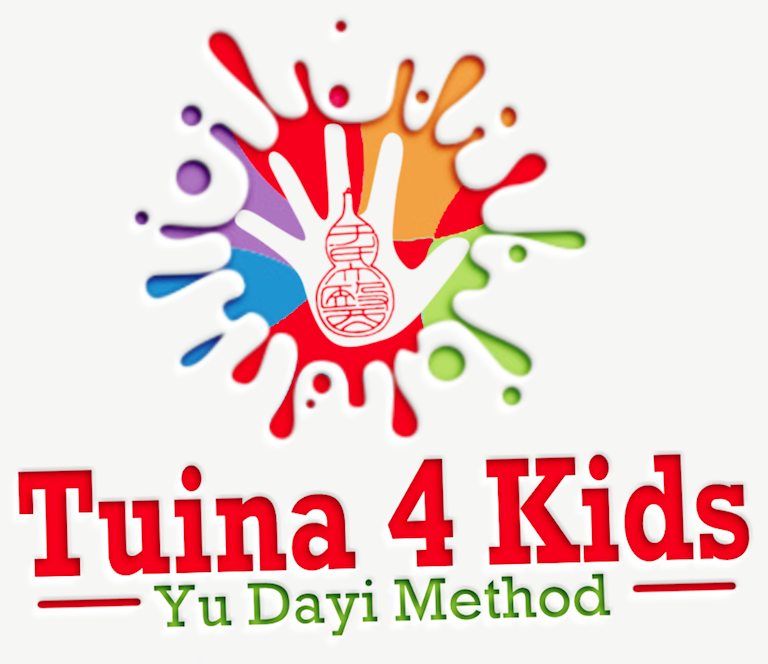 Tuina4Kids, Yu Dayi Method logo. Primary color paint splatter with child hand print inside. Chiense gourd logo in middle of hand print.