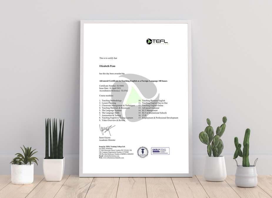 TEFL Certificate - TEFL Solutions