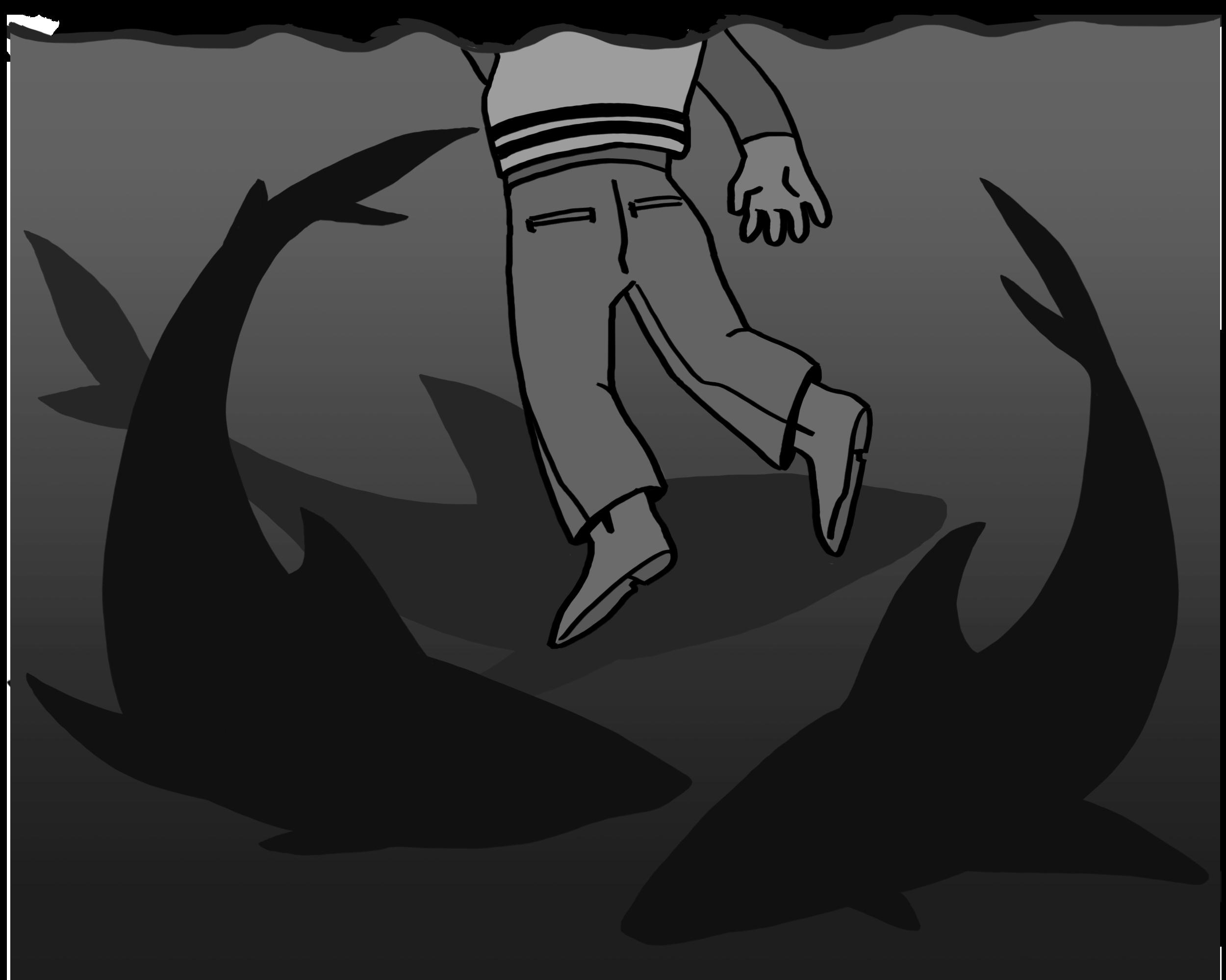 A person shown underwater, with dark shark shapes around them