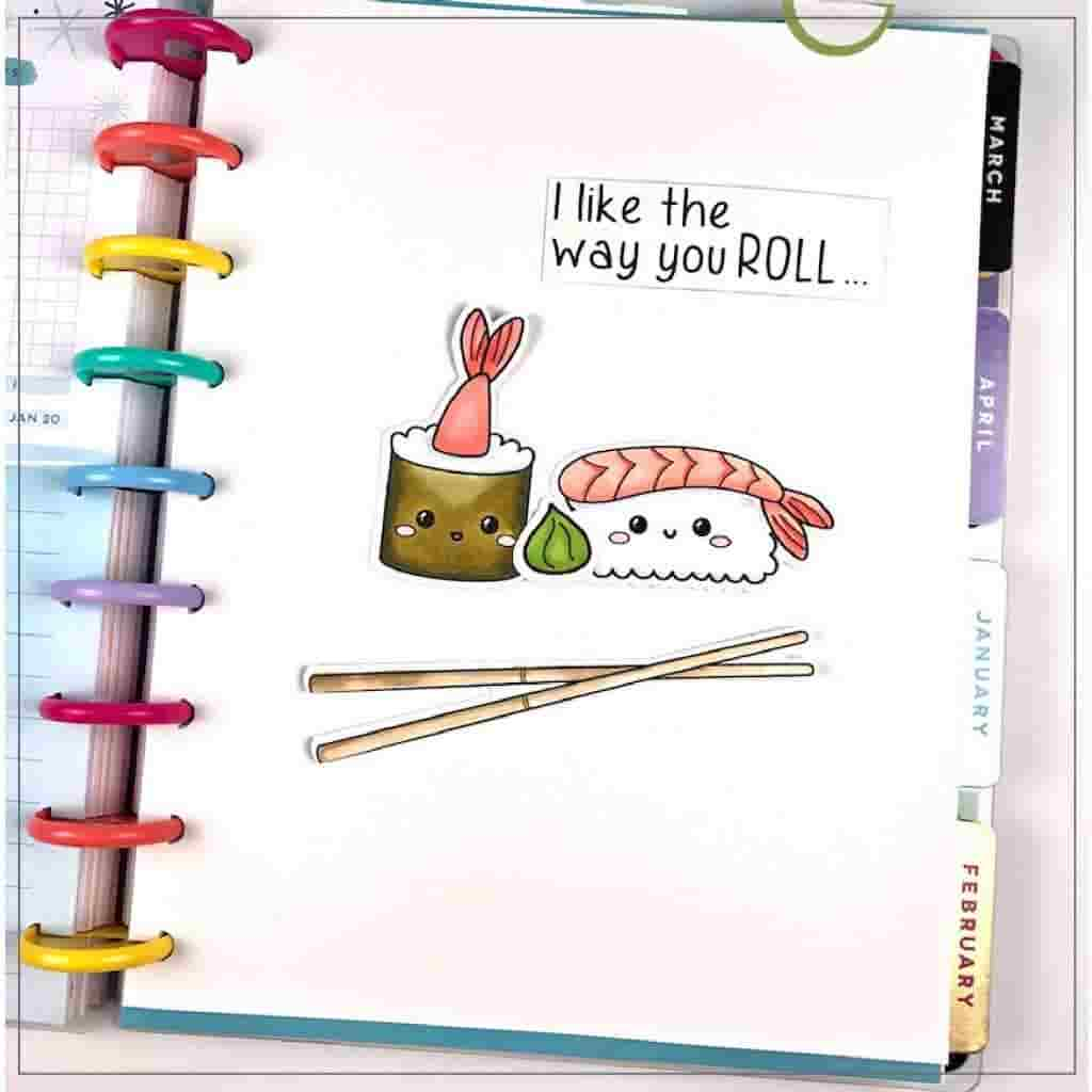 sushi rolls in happy planner