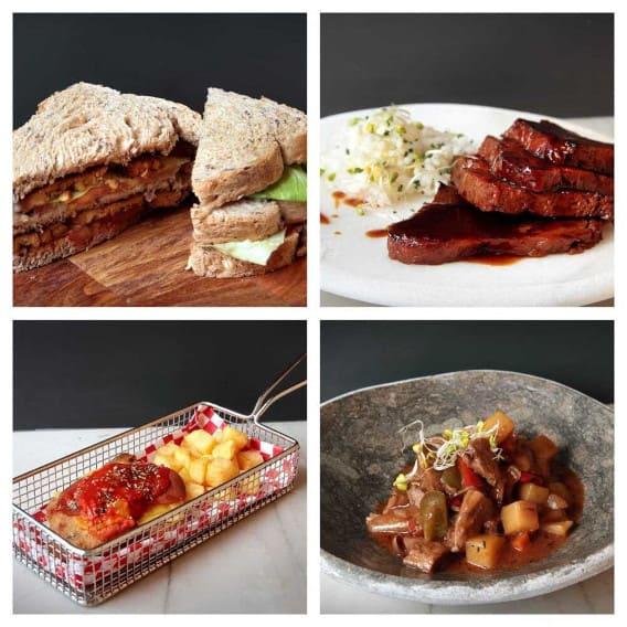 Sandwich BLT vegano, seitán lacado, milanesa de legumbreta, estofado  de heura