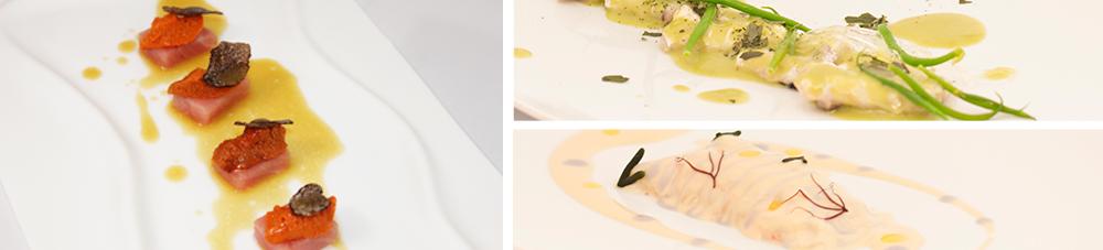 Platos de pescado, marisco y crustáceos preparados por el chef Paco Pérez