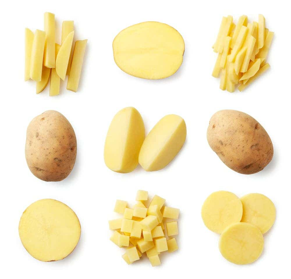diferentes cortes de una patata