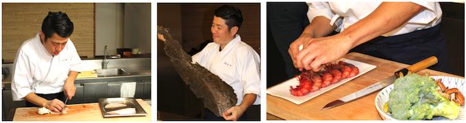 El maestro y profesor de este curso Hideki Matsuhisa cortando pescado