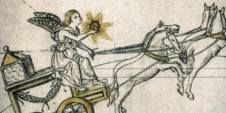 angel holding sun and driving a team of horses through the sky
