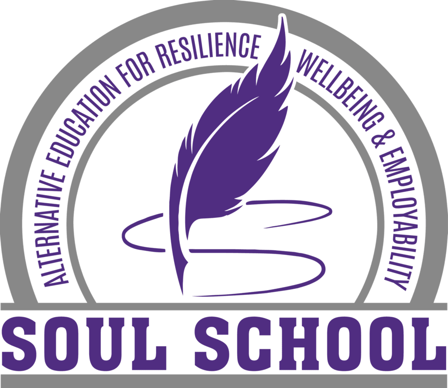 Purple feather quill forming the letter 'S' with Soul School Title and wording 'alternative education for resilience, wellbeing and employability'