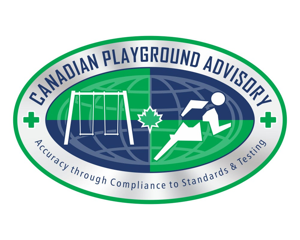 This is an elipse containing the name Canadian Playground Advisory Inc and picture of a swing set on the left to indicate expertise in playgrounds and stylized runnner on the right on indicate expertise in sport surface.  There a green crosses on the border indicating concern for injury prevention and a maple leaf in the centre to show Canadian roots.