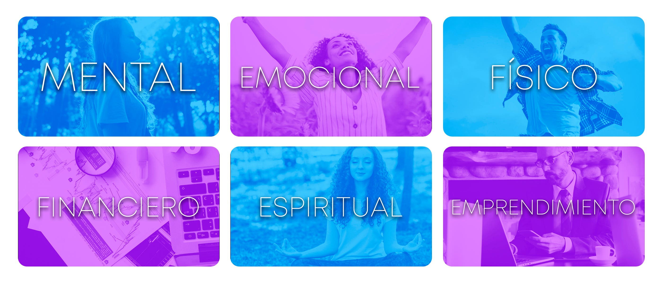 Áreas de enfoque: Mental, Emocional, Físico, Financiero, Espiritual, Emprendimiento