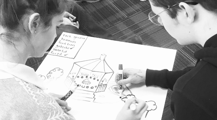 Students collaborating on a design project.