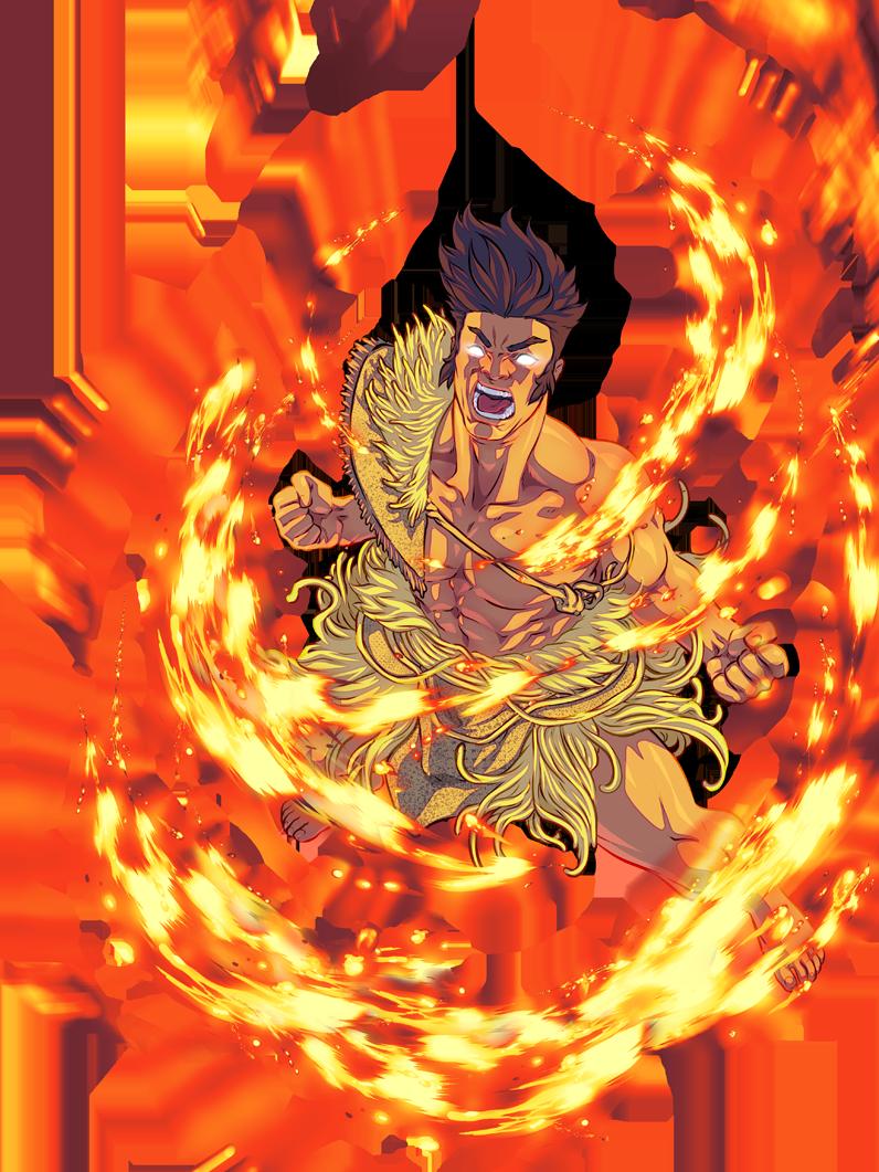 an image of Māui tikitiki a taranga powering up with spiraling flaming energy surrounding him.