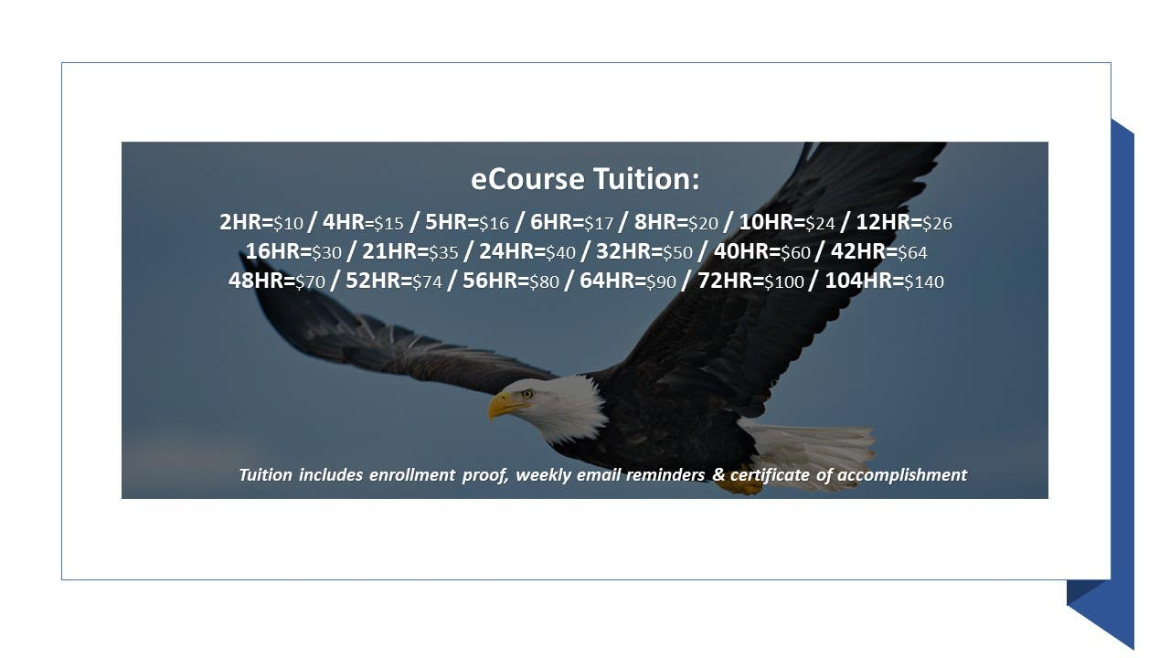 Tuition List for NCOei eCourses for use in Court or Probation https://ncoei.thinkific.com
