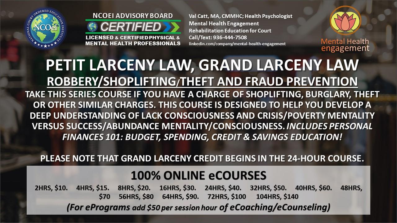 NCOei Grand Larceny Law, Petit Larceny Law, Robbery, Shoplifting, Theft Prevention Education eCourse