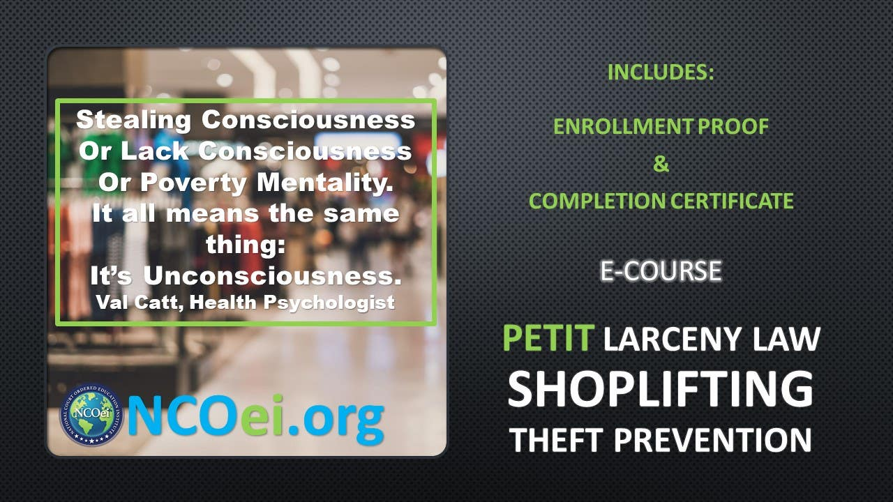 NCOei Petit Larceny Law Awareness, Shoplifting, Theft Prevention eCourse