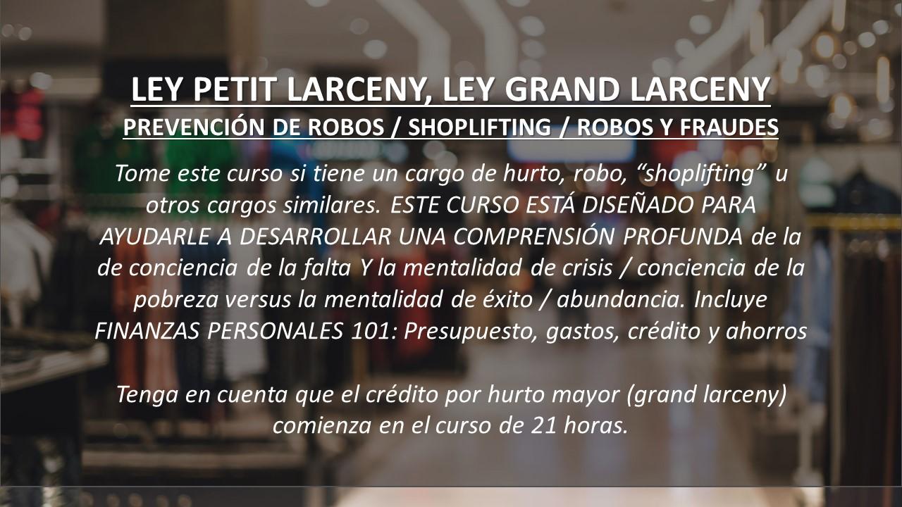 """NCOei.org 40-horas Ley Grand Larceny Y Petit Larceny, Fraude, Hurto, Robo En Tiendas O """"Shoplifting"""" Serie: Educación En Integridad, Modificación De La Conducta"""