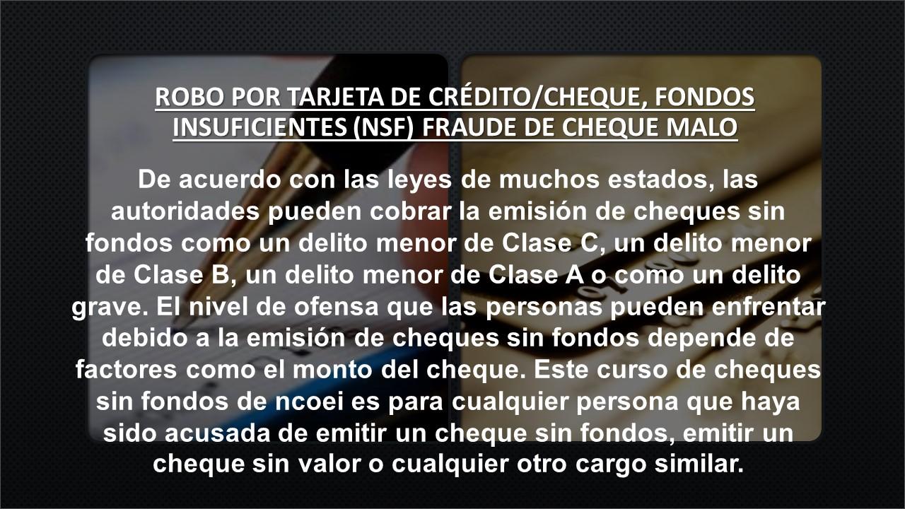 """Robo De Tarjeta De Crédito, Robo Con Cheque, Fondos Insuficientes """"Nsf"""" Fraude Con Cheques Sin Fondos"""