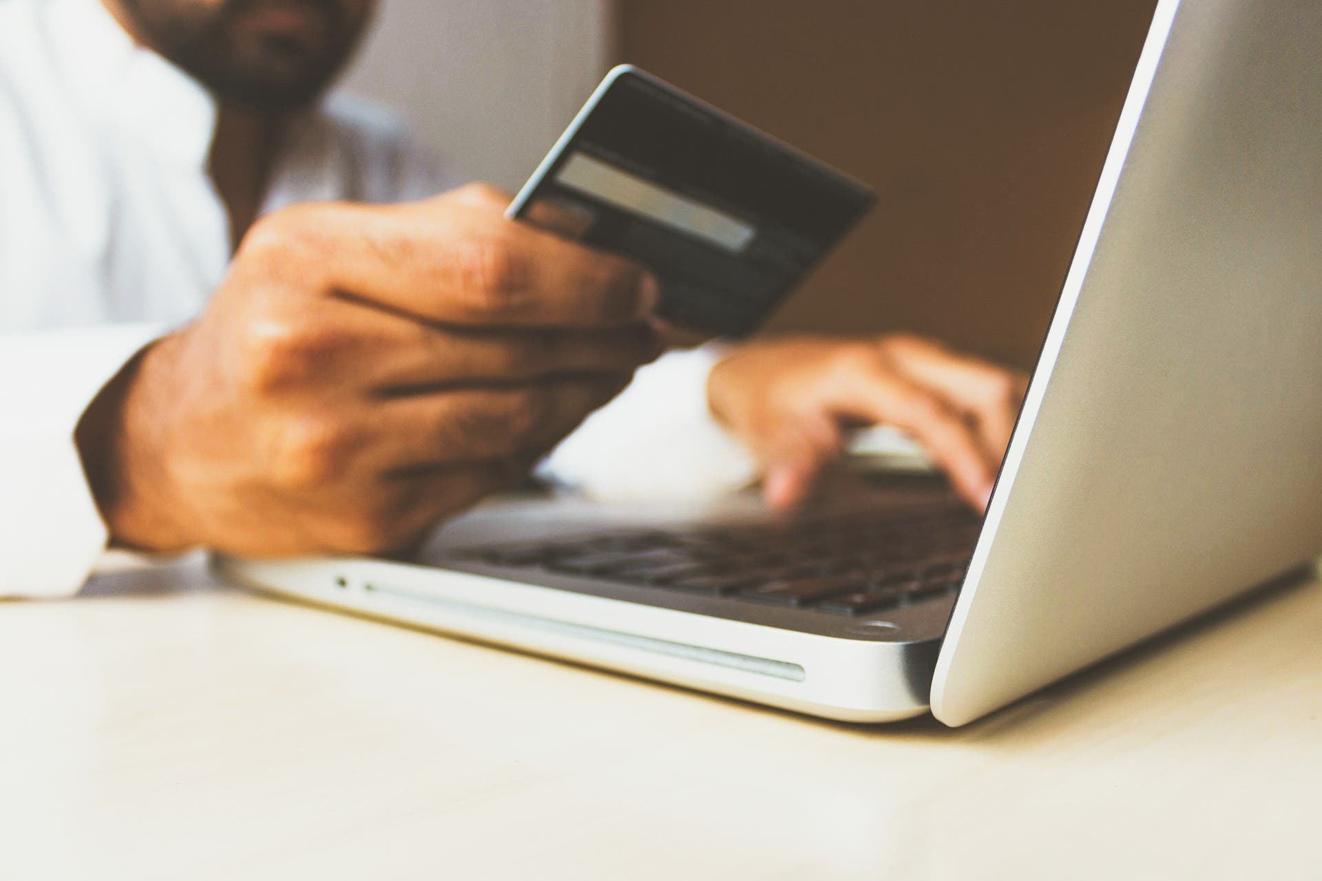 An online purchase with a credit card