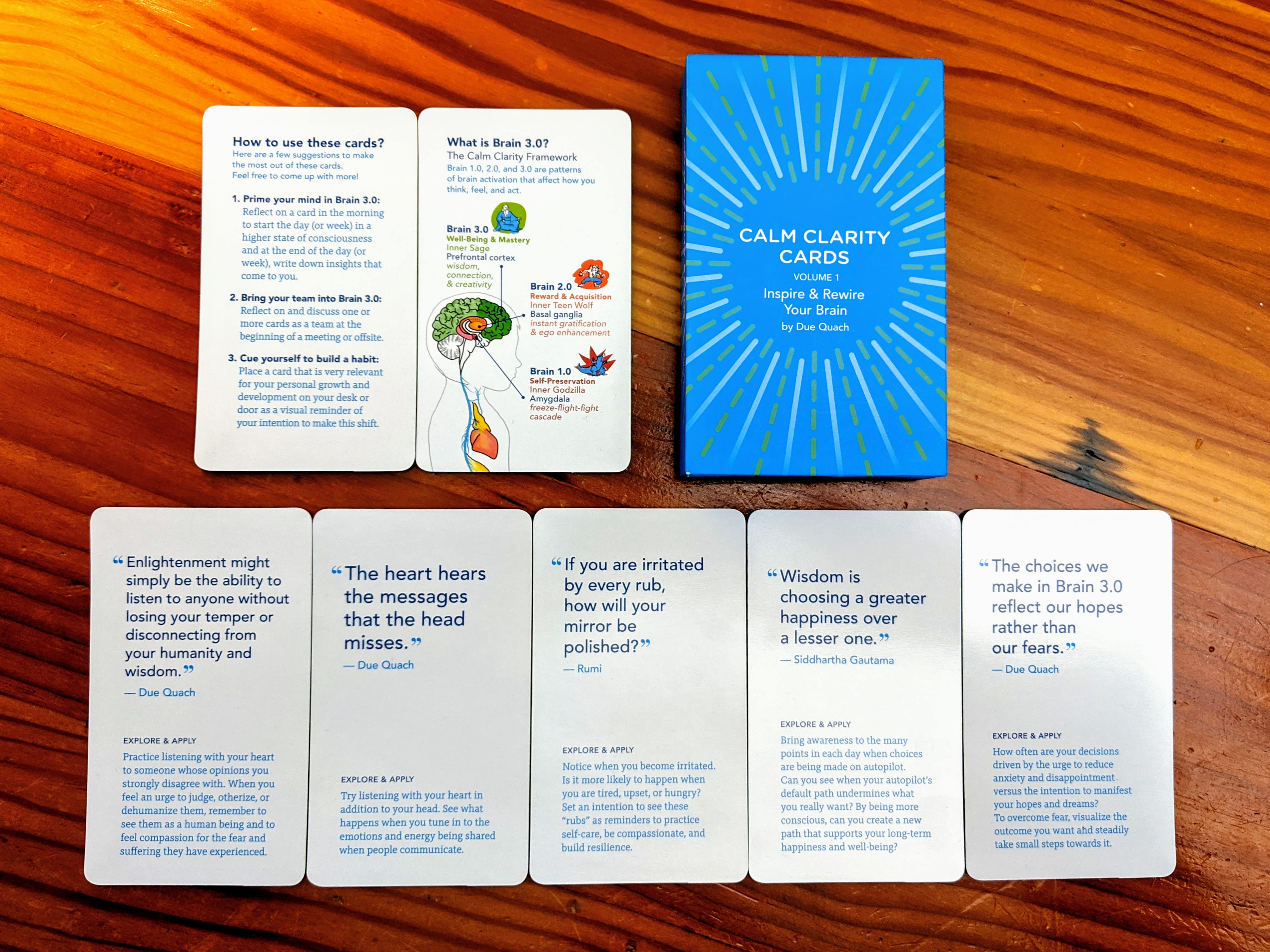 Calm Clarity Cards - wooden table