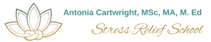 Logo is a lotus flower with a figure 8 knot at the base. Text reads: Antonia Cartwright, MSc, MA, M. Ed.