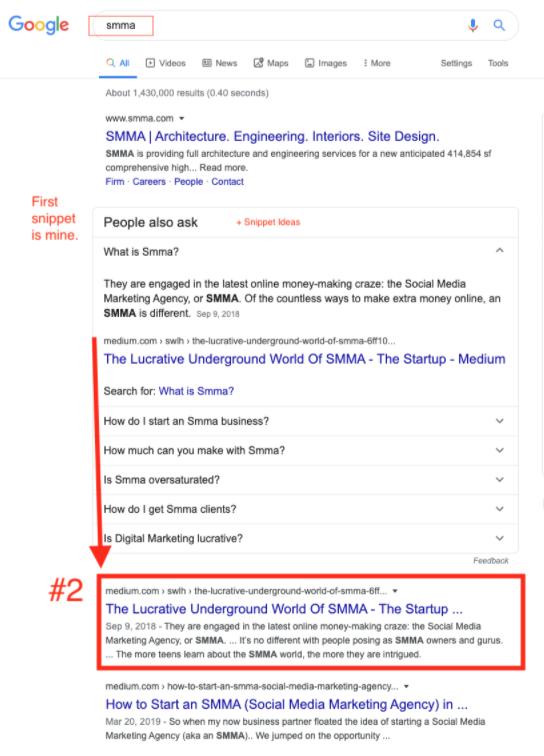 ranked #2 for keyword SMMA
