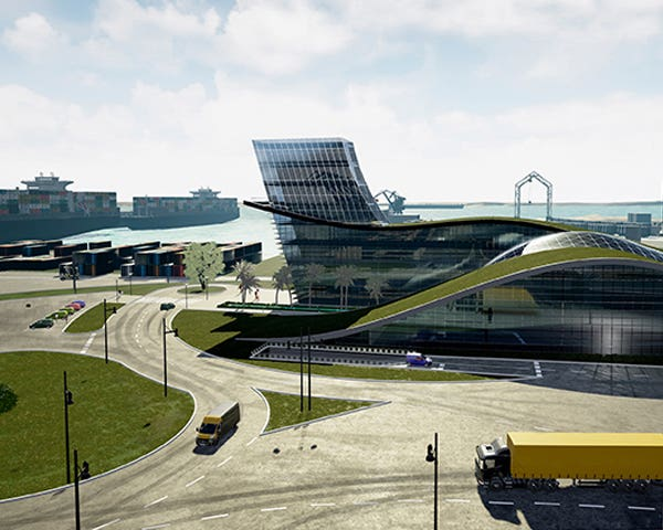 Simulación arquitectónica de un puerto