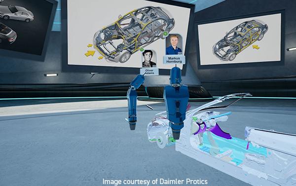 Imagen con varias pantallas de coches y varios avatares 3d simulados por realidad virtual