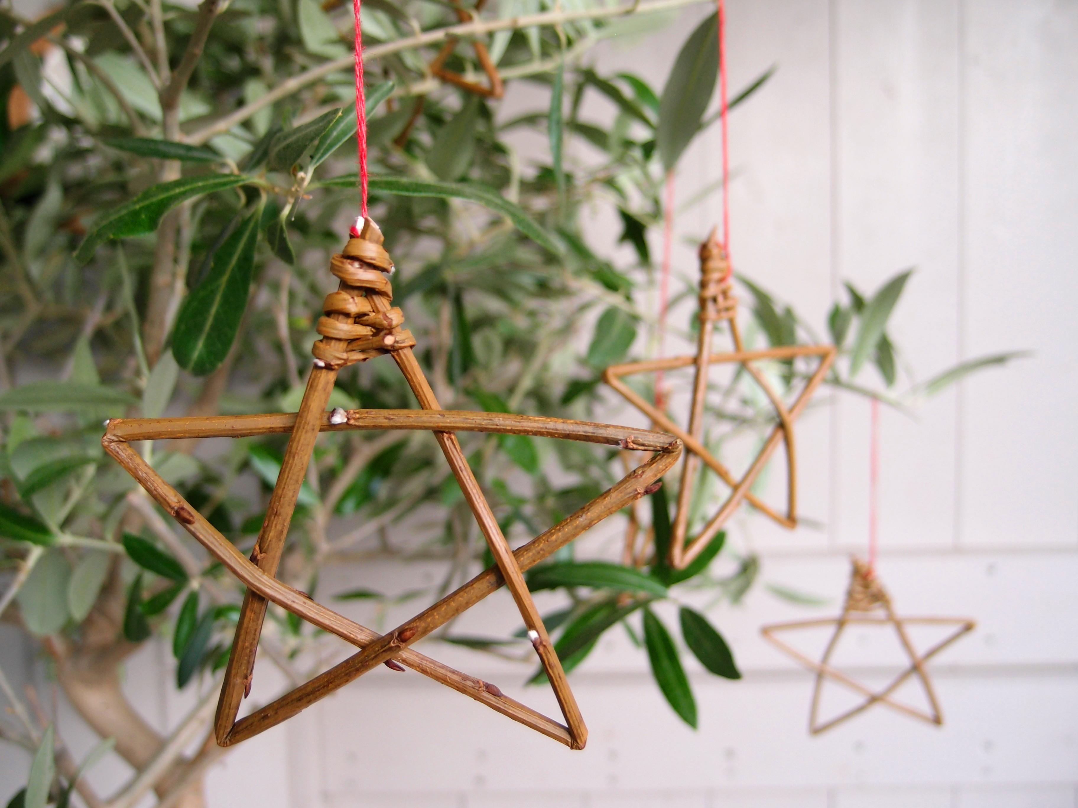 three tiny hanging stars on an olive tree