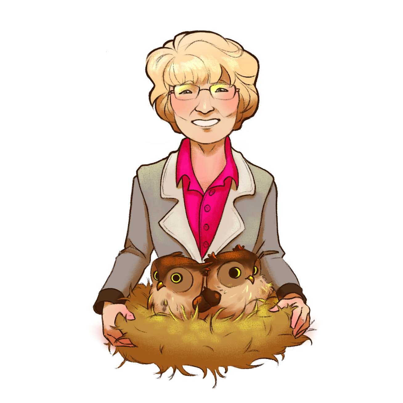 Gail holding nest of baby owls