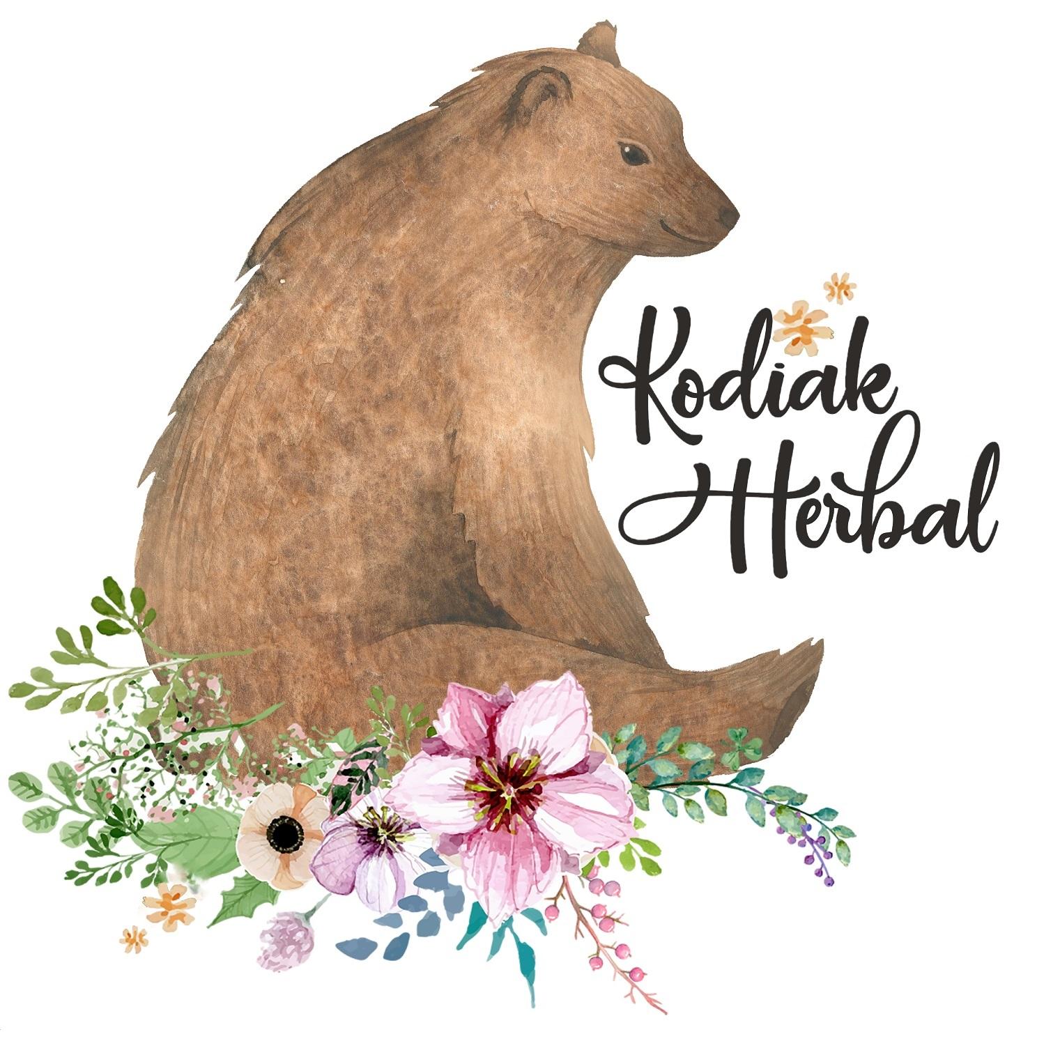 kodiak herbal logo - bear with flowers