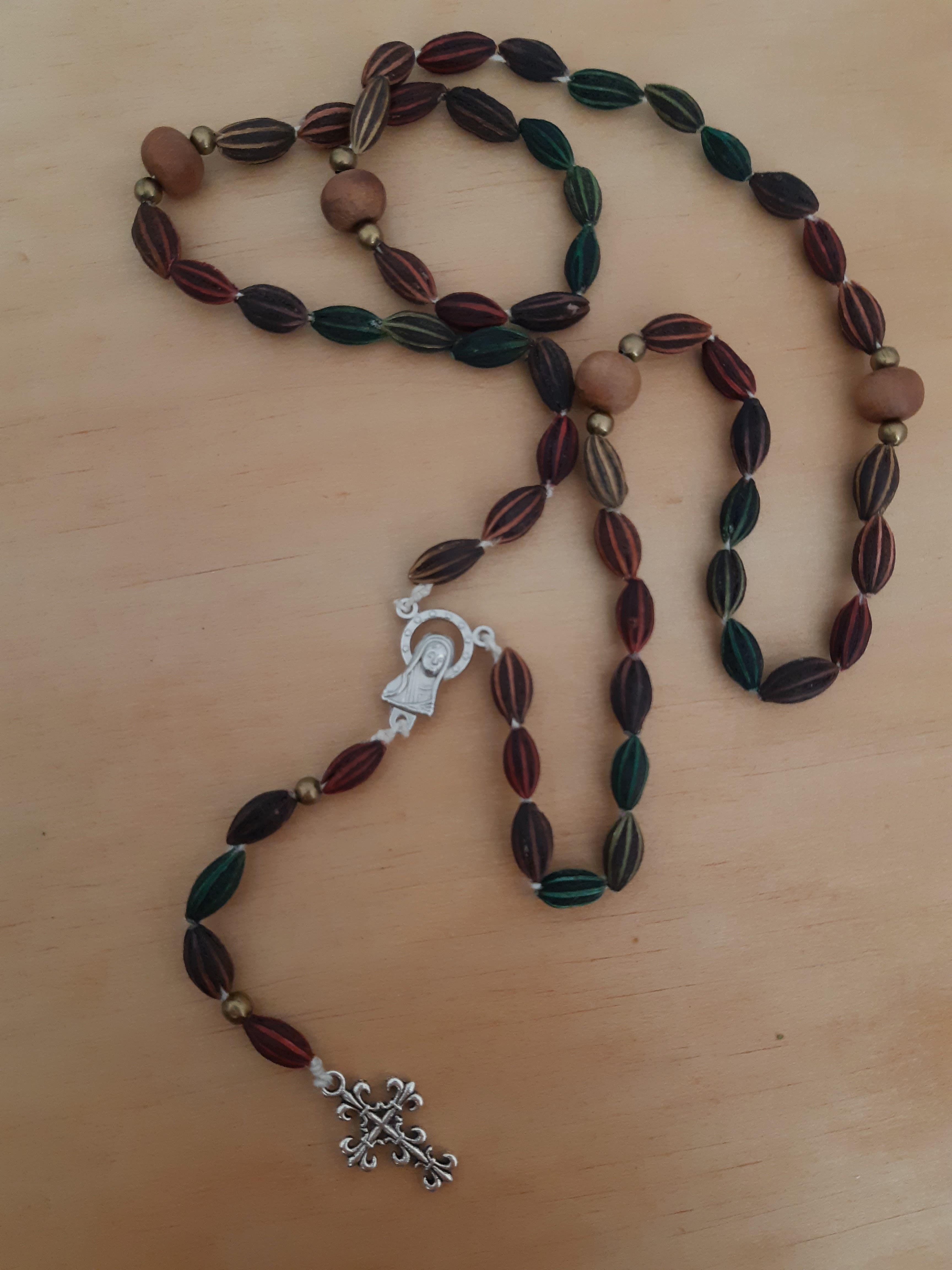Metis rosary made from wolf willow and cedar beads