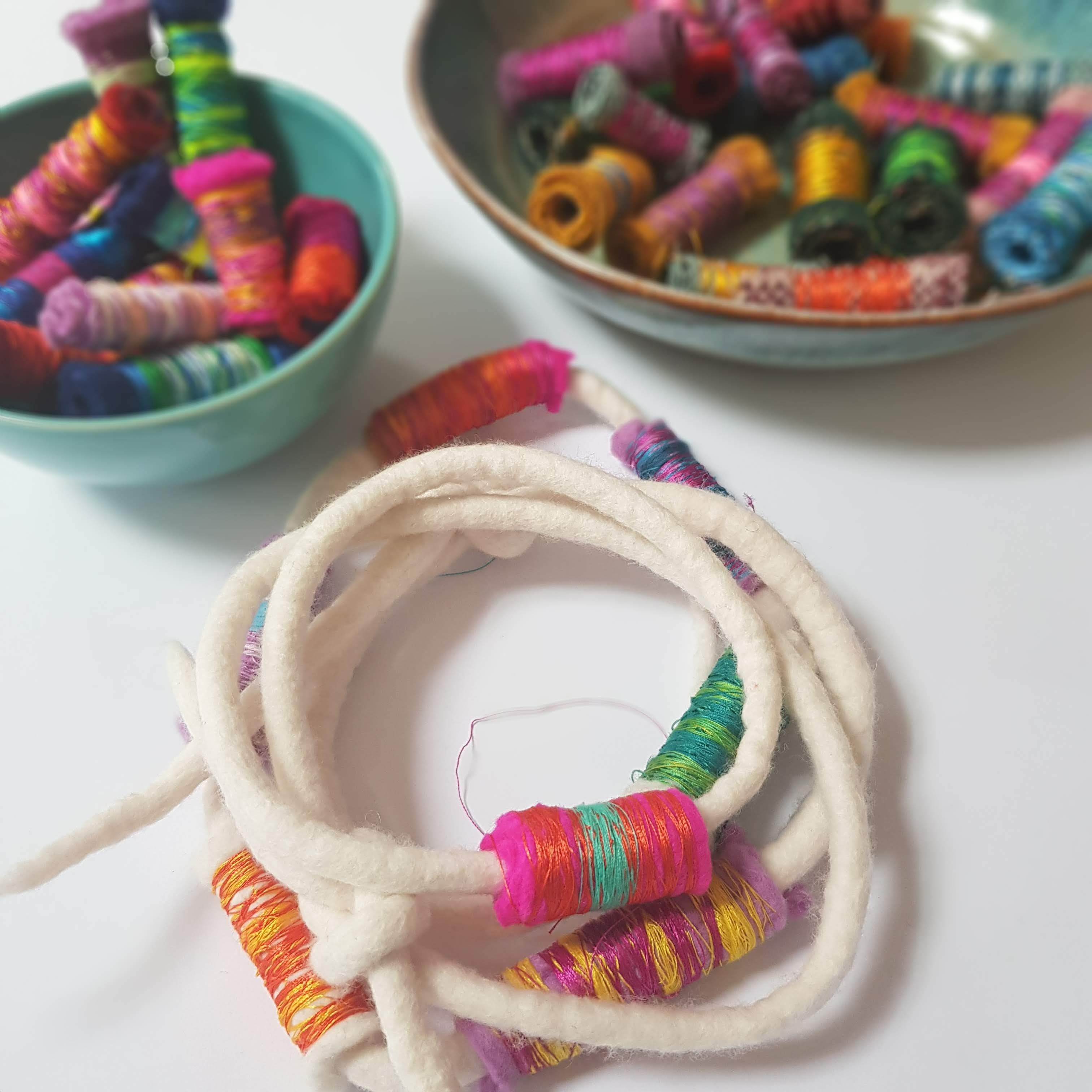 textile felted necklace with recycled fabric beads