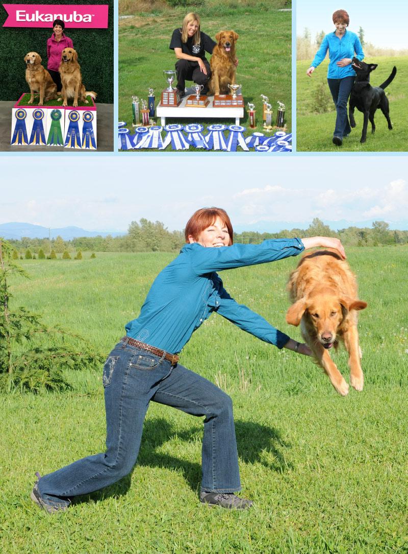 Janice Gunn with various dogs