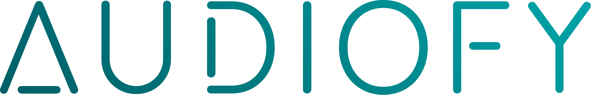 Teal coloured text logo for AudioFy