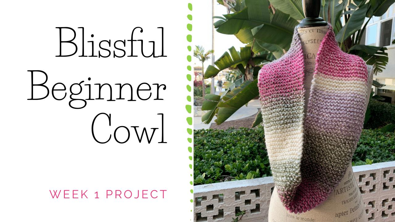 Blissful Beginner Cowl Knitting Project