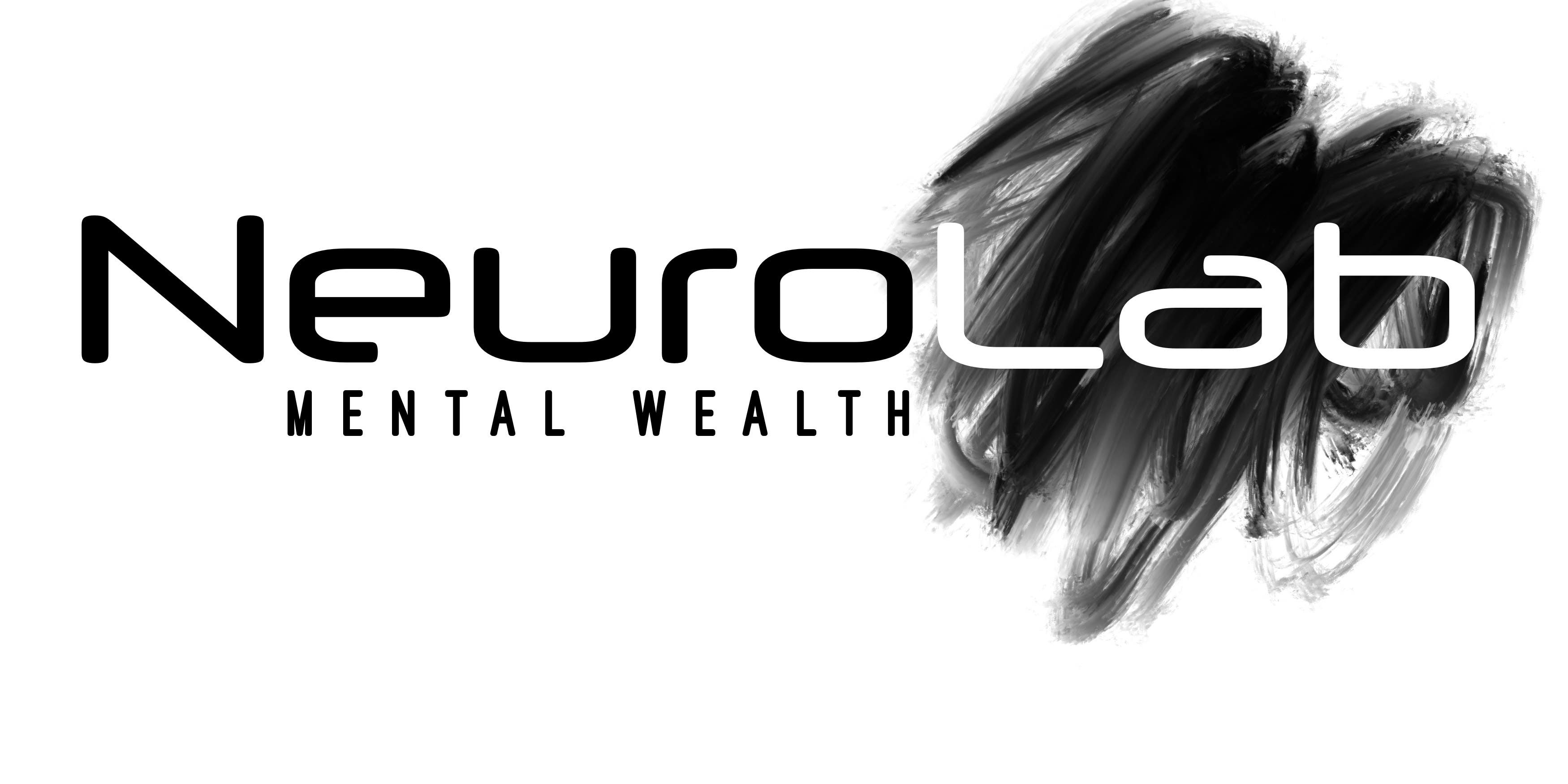Black and white logo with black swish. Sub title under NeuroLab is Mental Wealth