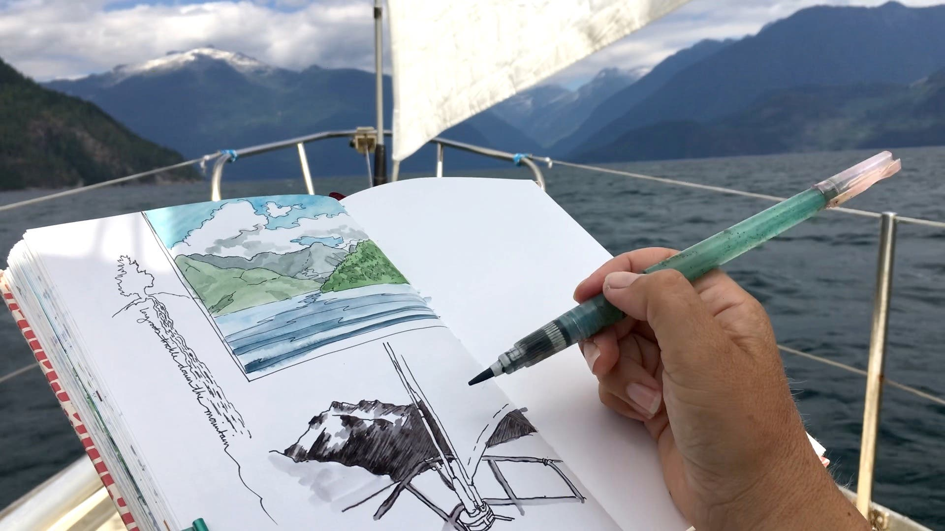Drawing on the bow of a boat