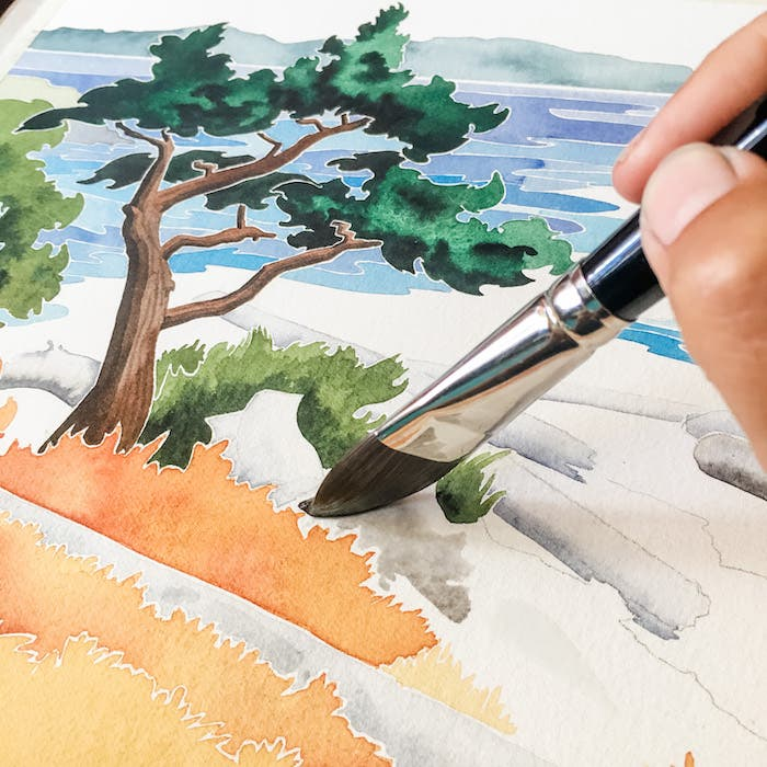 Painting watercolour with a large brush