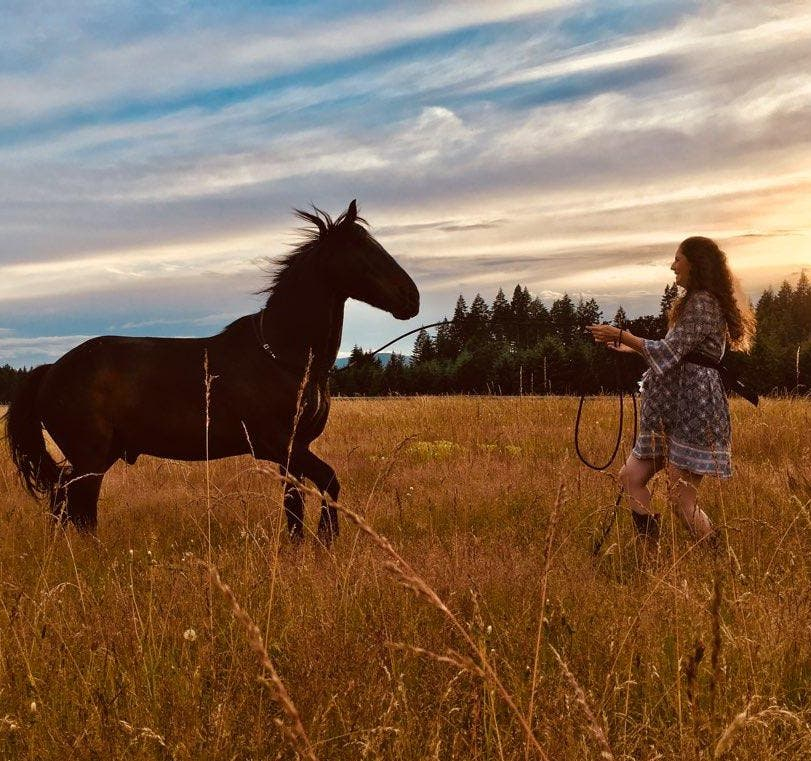Alissa Mayer and her horse Doc A'Nalu play at liberty