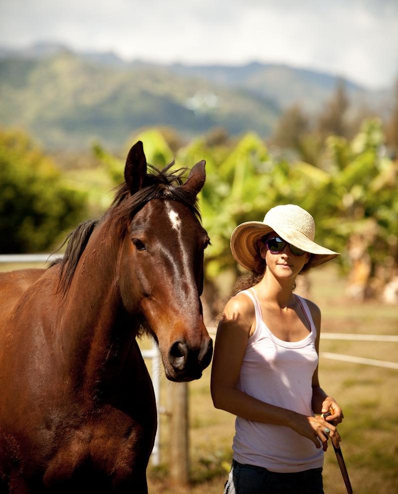 Alissa Mayer on Kaua'i, Hawaii with her horse Doc A'Nalu