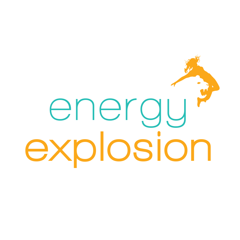 'Energy Explosion' text with logo of a dancer that is also the face of a pantha