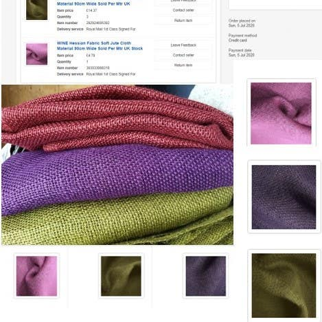 Sample of fabrics proposed in mood board for client
