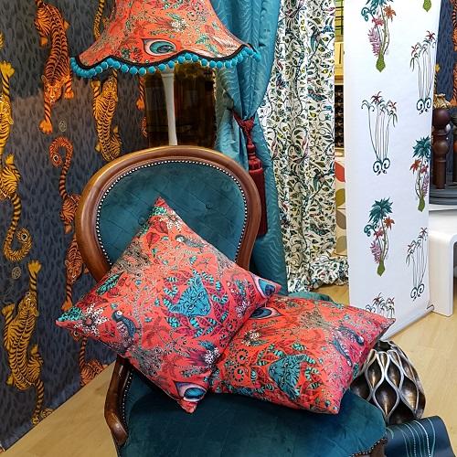 Interior design display using fabric and wallpaper samples