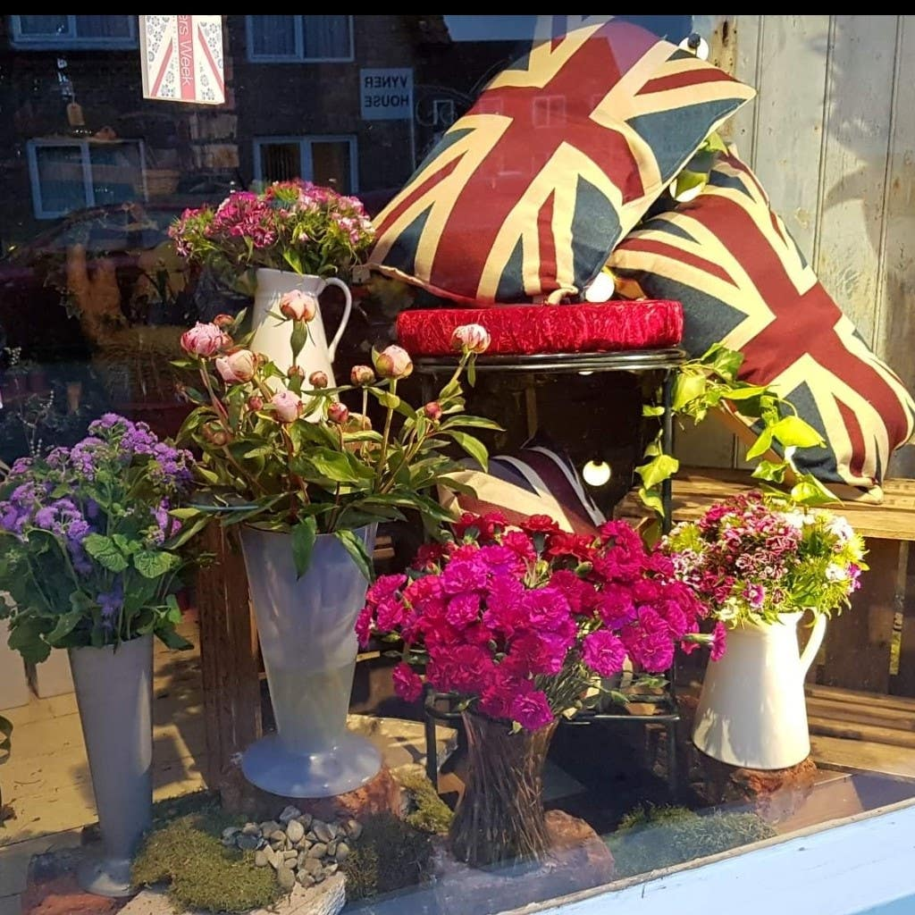 Florist window where the product is still accessible for sale